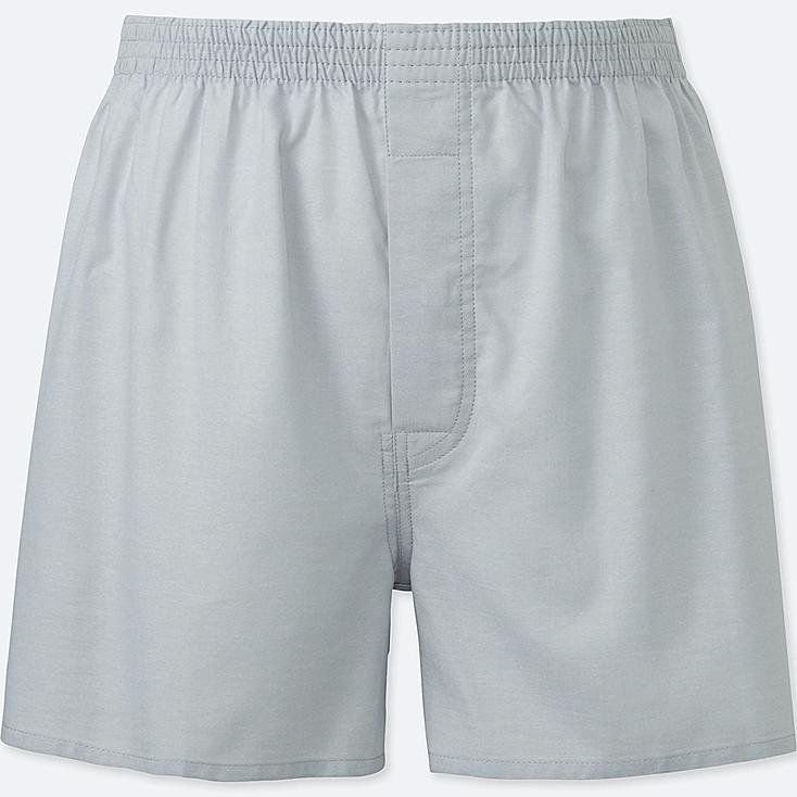 MEN WOVEN LIGHT OXFORD BOXERS, LIGHT GRAY, large