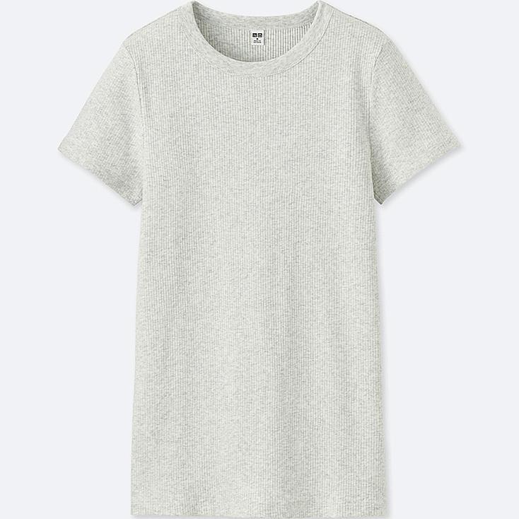WOMEN SUPIMA® COTTON RIBBED CREW NECK SHORT-SLEEVE T-SHIRT, LIGHT GRAY, large