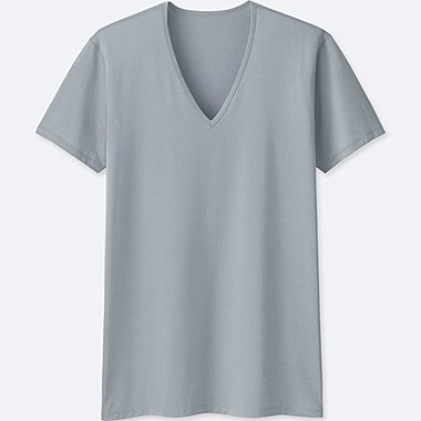 MEN AIRism V-NECK SHORT-SLEEVE T-SHIRT, LIGHT GRAY, medium