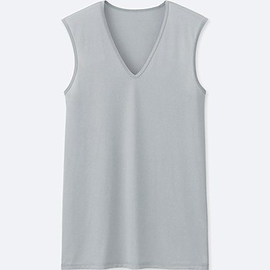MEN AIRism MESH V-NECK SLEEVELESS TOP, LIGHT GRAY, medium