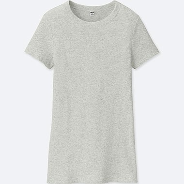 WOMEN SUPIMA COTTON RIBBED CREW NECK T-SHIRT