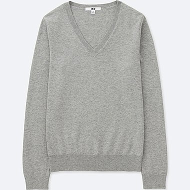 WOMEN COTTON CASHMERE V NECK SWEATER