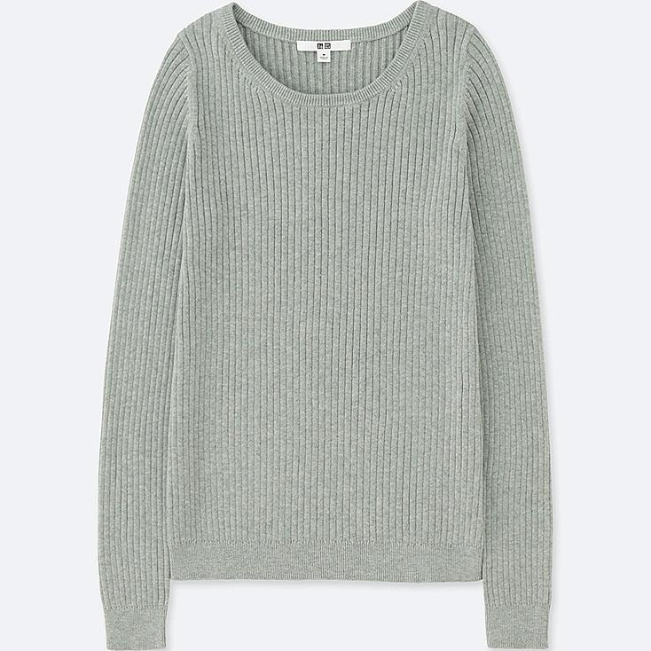 WOMEN COTTON CASHMERE RIBBED SWEATER, LIGHT GRAY, large