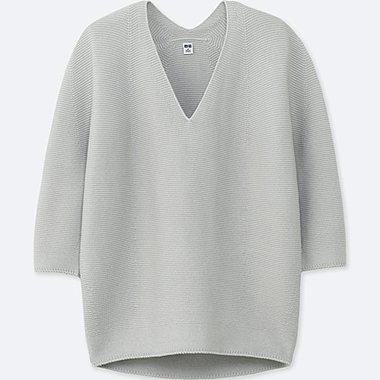 WOMEN 3D COCOON SILHOUETTE 3/4 SLEEVE SWEATER, LIGHT GRAY, medium