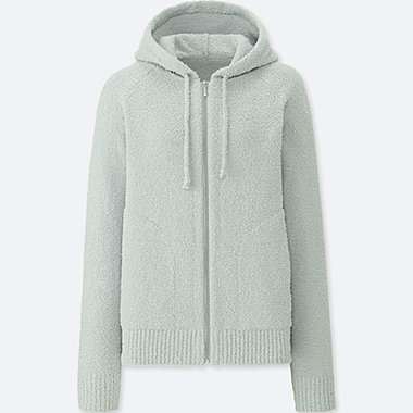 WOMEN FLUFFY YARN LOUNGE LONG SLEEVE HOODIE, LIGHT GRAY, medium