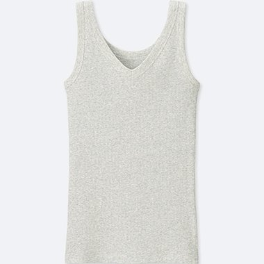 WOMEN SUPIMA® COTTON RIBBED TANK TOP, LIGHT GRAY, medium