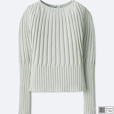 WOMEN UNIQLO U 100% cotton 3D Ribbed Balloon Crew Neck Sweater