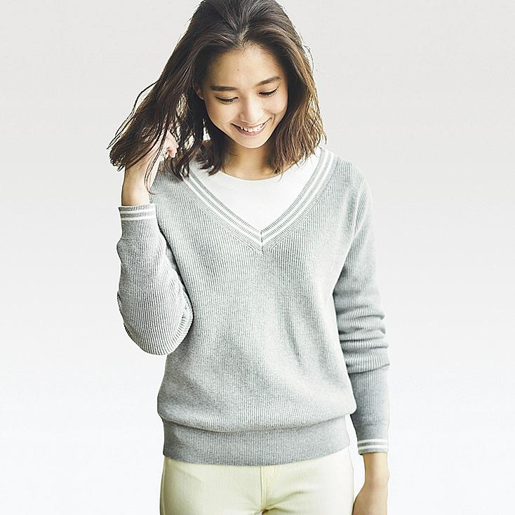 WOMEN COTTON CASHMERE MIDDLE GAUGE CRICKET SWEATER, LIGHT GRAY, large