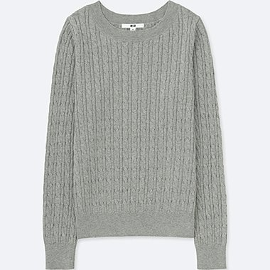 WOMEN COTTON CASHMERE CABLE BOAT NECK SWEATER