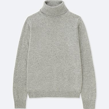 WOMEN CASHMERE TURTLENECK SWEATER, LIGHT GRAY, medium