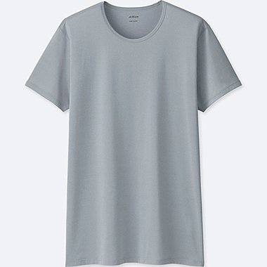 MEN AIRism CREWNECK T-SHIRT, LIGHT GRAY, medium