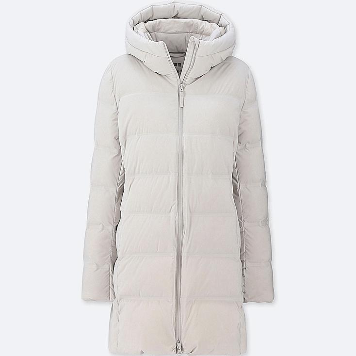 WOMEN SEAMLESS DOWN SHORT COAT, LIGHT GRAY, large