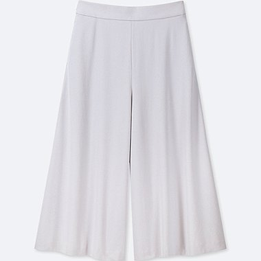 WOMEN DRAPE WIDE CROPPED TROUSERS