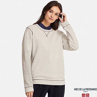 WOMEN FRENCH TERRY LONG-SLEEVE PULLOVER (INES DE LA FRESSANGE), LIGHT GRAY, medium
