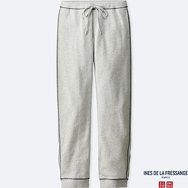 WOMEN FRENCH TERRY PANTS (INES DE LA FRESSANGE), LIGHT GRAY, medium