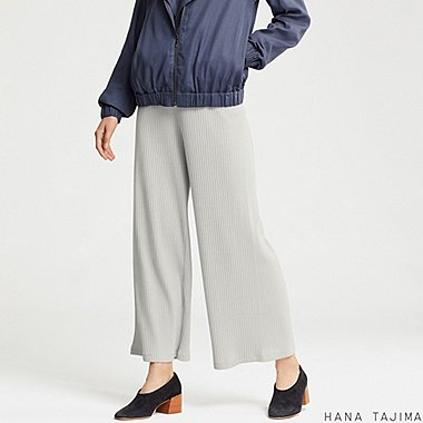 WOMEN RIBBED WIDE PANTS (HANA TAJIMA), LIGHT GRAY, medium