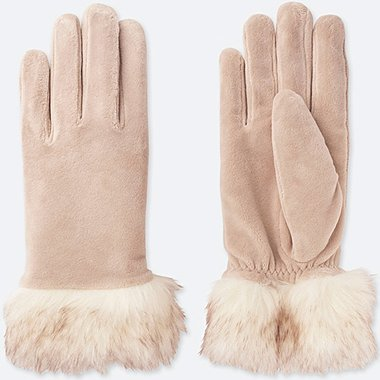 WOMEN FAUX SHEARLING CUFFS GLOVES