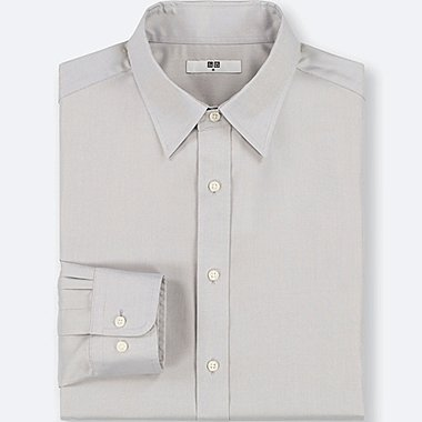 MEN EASY CARE OXFORD REGULAR-FIT LONG-SLEEVE SHIRT (ONLINE EXCLUSIVE), LIGHT GRAY, medium