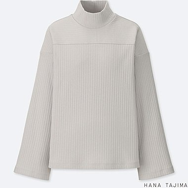 WOMEN HPJ RIBBED HIGH NECK LONG SLEEVE T-SHIRT
