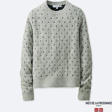 WOMEN JACQUARD SWEATER (INES DE LA FRESSANGE), LIGHT GRAY, medium