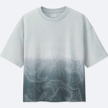 WOMEN KATAGAMI SHORT-SLEEVE GRAPHIC T-SHIRT, LIGHT GRAY, medium