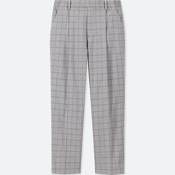 WOMEN EZY TUCKED ANKLE-LENGTH PANTS (WINDOWPANE), LIGHT GRAY, large