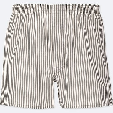 MEN WOVEN STRIPED BOXERS, LIGHT GRAY, medium