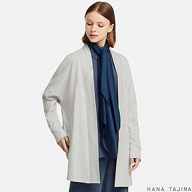 WOMEN COTTON LONG-SLEEVE LONG CARDIGAN (HANA TAJIMA), LIGHT GRAY, medium