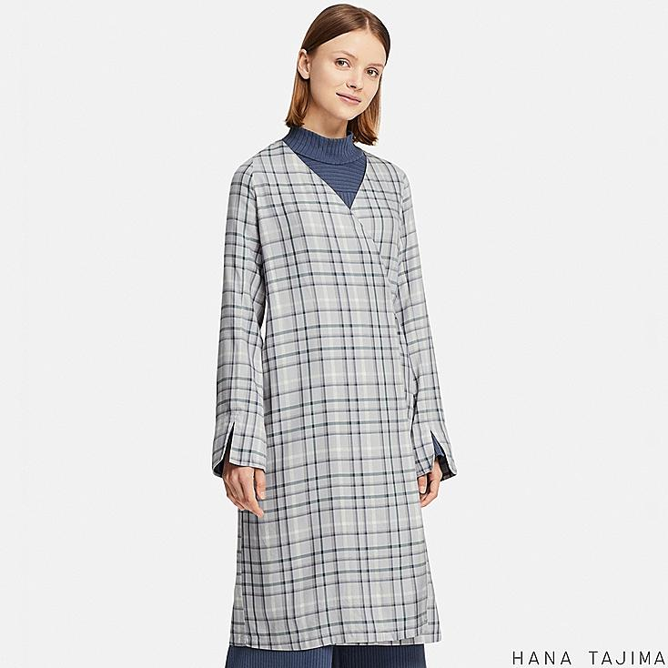 WOMEN RAYON WRAP CHECKED LONG-SLEEVE TUNIC (HANA TAJIMA) at UNIQLO in Brooklyn, NY | Tuggl