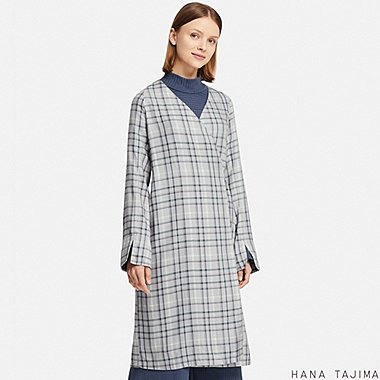 WOMEN RAYON WRAP CHECKED LONG-SLEEVE TUNIC (HANA TAJIMA), LIGHT GRAY, medium