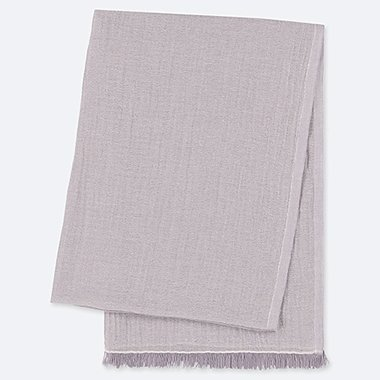 COTTON LINEN STOLE, LIGHT GRAY, medium