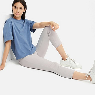 WOMEN ULTRA STRETCH CROPPED LEGGINGS PANTS, LIGHT GRAY, medium