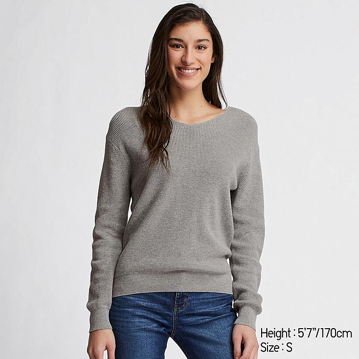 WOMEN COTTON CASHMERE V-NECK SWEATER, LIGHT GRAY, large