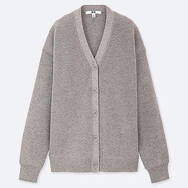 WOMEN COTTON CASHMERE V-NECK CARDIGAN, LIGHT GRAY, medium