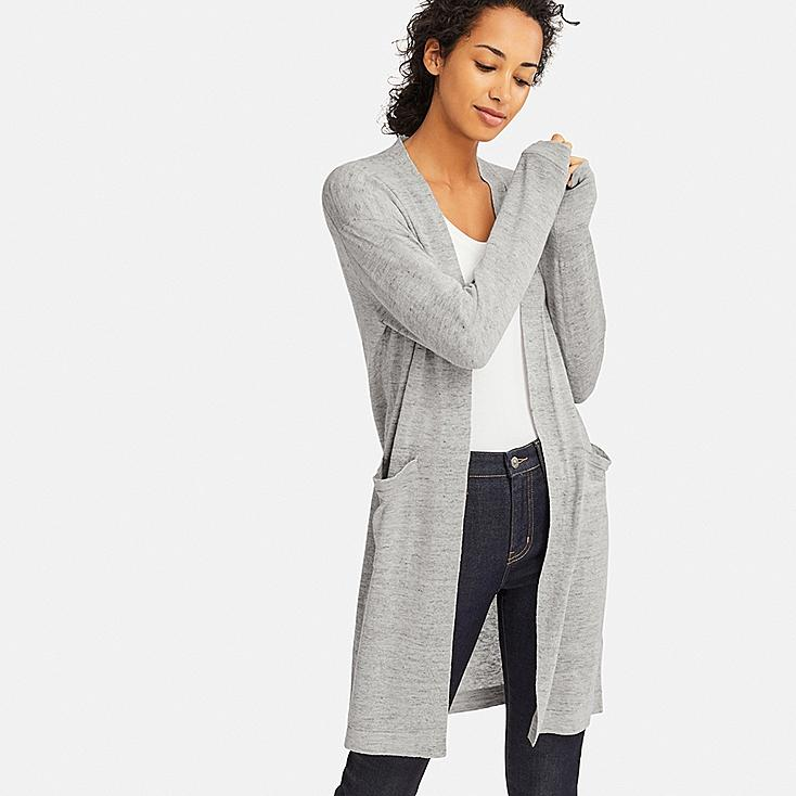 WOMEN LINEN BLENDED LONG-SLEEVE LONG CARDIGAN, LIGHT GRAY, large