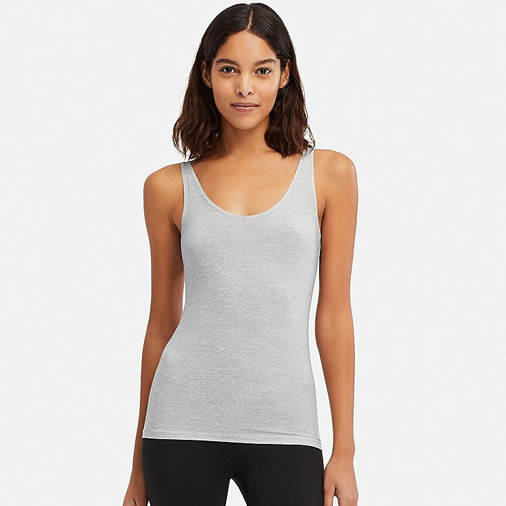 WOMEN AIRism HEATHER SLEEVELESS TOP, LIGHT GRAY, large