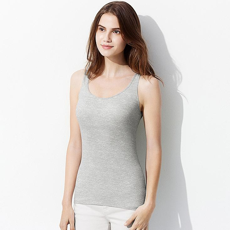 WOMEN AIRism HEATHER BRA SLEEVELESS TOP, LIGHT GRAY, large