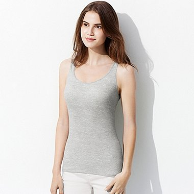 WOMEN AIRism HEATHER BRA SLEEVELESS TOP, LIGHT GRAY, medium