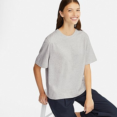 WOMEN CROPPED CREW NECK SHORT-SLEEVE T-SHIRT, LIGHT GRAY, medium