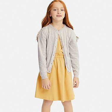 GIRLS UV CUT CREW NECK LONG-SLEEVE CARDIGAN, LIGHT GRAY, medium