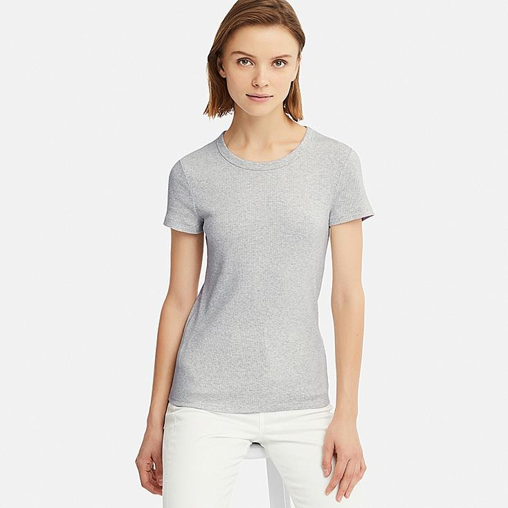 WOMEN RIBBED CREW NECK SHORT-SLEEVE T-SHIRT, LIGHT GRAY, large