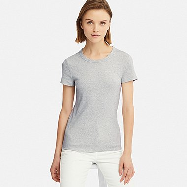 WOMEN RIBBED CREW NECK SHORT-SLEEVE T-SHIRT, LIGHT GRAY, medium