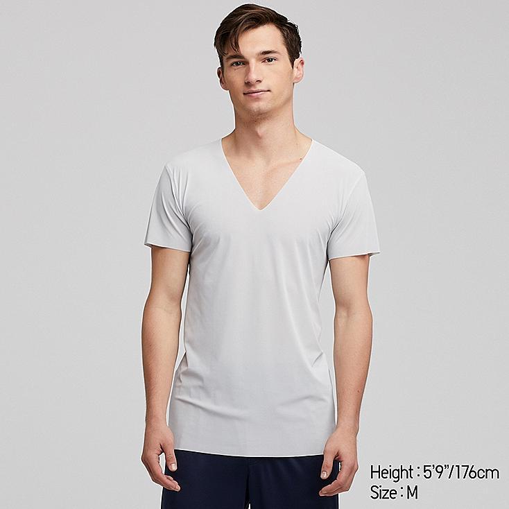 MEN AIRism SEAMLESS SHORT-SLEEVE V-NECK T-SHIRT, LIGHT GRAY, large