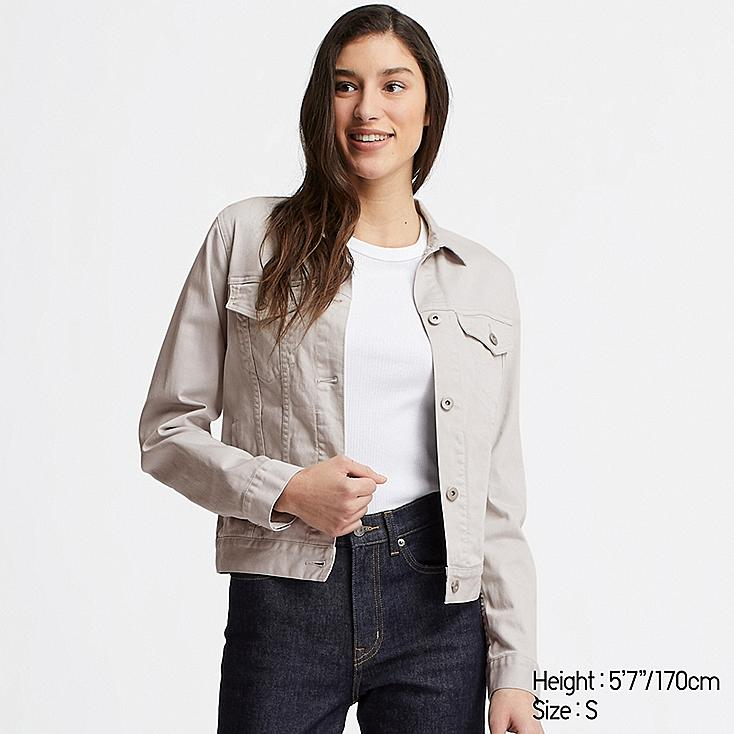 WOMEN DENIM JACKET, LIGHT GRAY, large