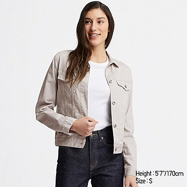 WOMEN DENIM JACKET, LIGHT GRAY, medium