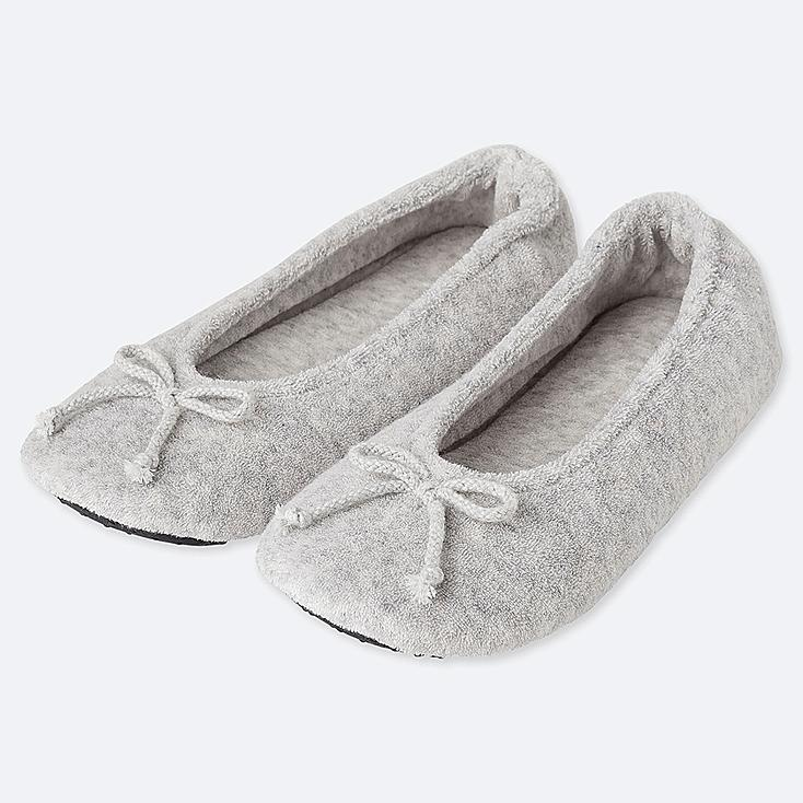 WOMEN PILE BALLET SLIPPERS, LIGHT GRAY, large