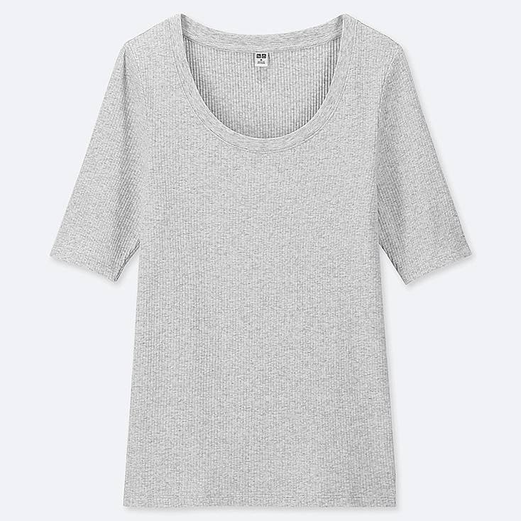 WOMEN RIBBED U-NECK HALF-SLEEVE T-SHIRT, LIGHT GRAY, large