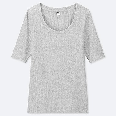 WOMEN RIBBED U-NECK HALF-SLEEVE T-SHIRT, LIGHT GRAY, medium