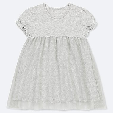 TODDLER TULLE SHORT-SLEEVE DRESS, LIGHT GRAY, medium