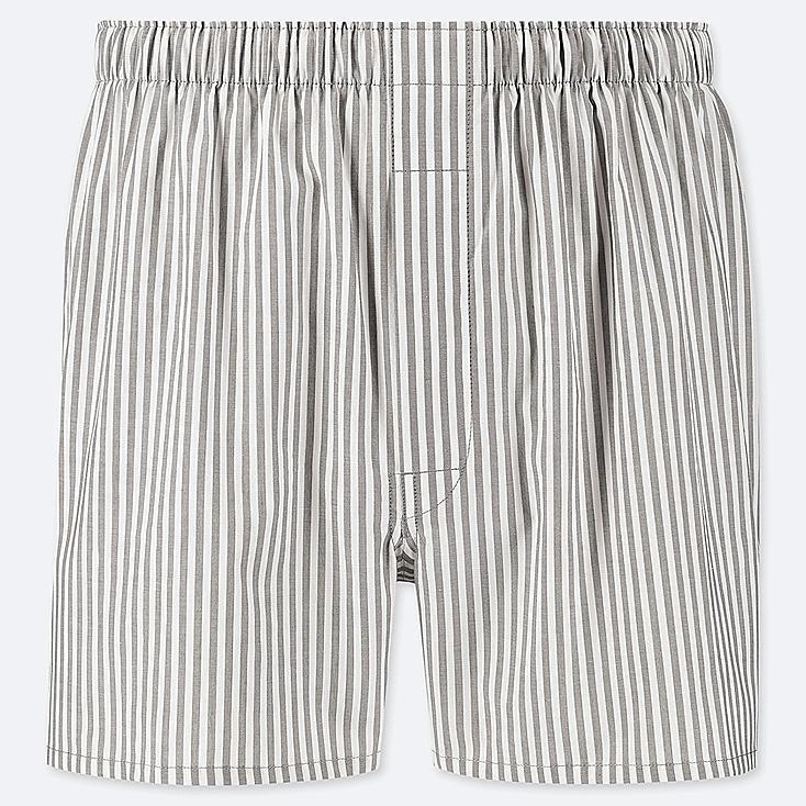 MEN WOVEN STRIPED BOXERS, LIGHT GRAY, large